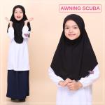 Tudung Sekolah Awning Scuba (Hitam)  519-02